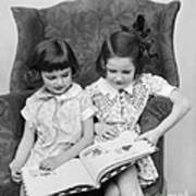 Two Girls Reading A Book, C.1920-30s Poster