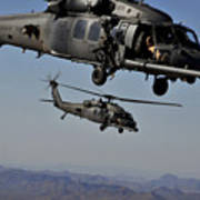 Two Hh-60 Pave Hawk Helicopters Prepare Poster