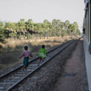 Two Kids Run Along And Follow Train In Burma Poster