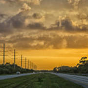 Two Lane Sunset Poster
