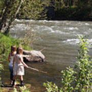 Two Little Girls Playing By The River Poster