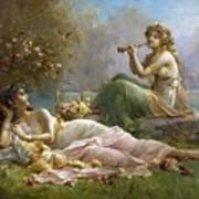 Two Nymphs By The Water Hans Zatzka Poster