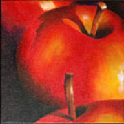 Two Red Apple Poster by Pepe Romero