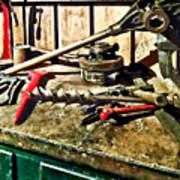 Two Red Wrenches On Plumber's Workbench Poster