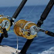 Two Rod And Reels On Board A Game Fishing Boat In The Mediterranean Sea Poster by Sami Sarkis