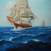 Two Ships Sailing Poster