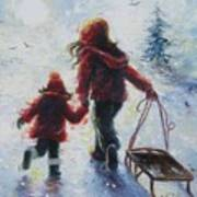 Two Sisters Going Sledding Poster