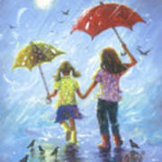 Two Sisters Rain Blond Little Sister Poster