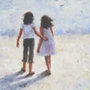 Two Sisters Walking Beach Poster