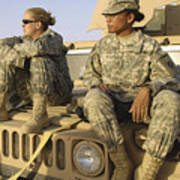 Two U.s. Army Soldiers Relax Prior Poster