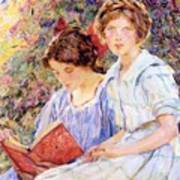Two Women Reading Poster