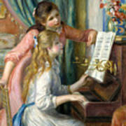 Two Young Girls At The Piano, 1892  Poster