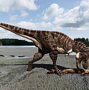 Tyrannosaurus enjoying seafood Poster