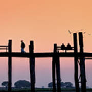 U-bein Bridge At Dawn Poster