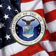 U. S.  Air Force  -  U S A F Emblem Over American Flag Poster