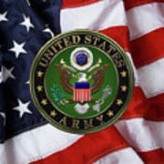 U. S. Army Emblem Over American Flag. Poster