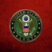 U. S.  Army Emblem Over Red Velvet Poster