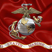 U. S.  Marine Corps - U S M C Eagle Globe And Anchor Over Corps Flag Poster