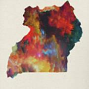 Uganda Watercolor Map Poster