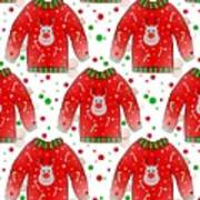 Ugly Christmas Sweater Pattern Poster