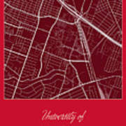 Uh Street Map - University Of Houston In Houston Map Poster