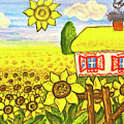 Ukrainian House With Sunflowers Poster