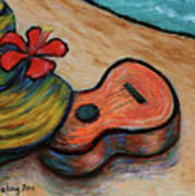 Ukulele And Hibiscus Flower On  A Hawaii Beach Poster