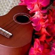 Ukulele And Red Flower Lei Poster