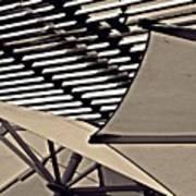 Umbrellas Sepia Poster