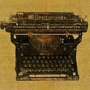 Underwood Typewriter On Text Poster