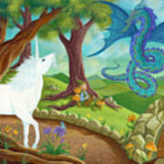 Unicorn And Dragon And Fairies And Elves - Illustration #9 In The Infinite Song Poster