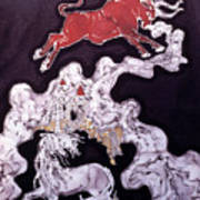 Unicorn And Red Bull Poster