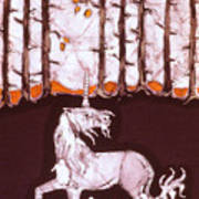 Unicorn Below Trees In Autumn Poster by Carol  Law Conklin