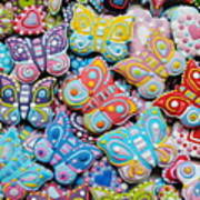 Unique Colorful Honey Cookies , Butterfly Shaped  Poster
