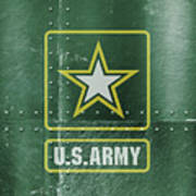 United States Army Logo On Green Steel Tank Poster