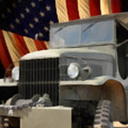 United States Army Truck And American Flag  Poster