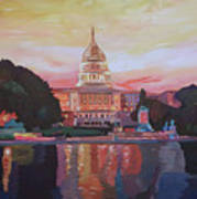 United States Capitol In Washington D.c. At Sunset Poster