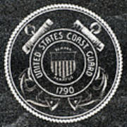 United States Coast Guard Emblem Polished Granite Poster