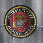 United States Marines Logo On Riveted Steel Poster