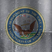 United States Navy Logo On Riveted Steel Boat Side Poster