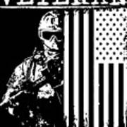 United States Veteran Flag And Soldier Poster