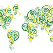 University Of Alberta Colors Swirl Map Of The World Atlas Poster