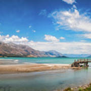 Unspoiled Alpine Scenery In Kinloch Wharf, New Zealand Poster