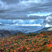Up In The Clouds Blue Ridge Parkway Mountain Art Poster
