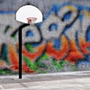Urban Basketball Hoop Inner City Innercity Wall And Asphalt In O Poster