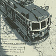 Urban Trams And Old Maps Poster