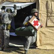 U.s. Air Force Soldier Exits A Medical Poster