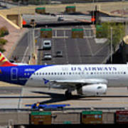 Us Airways Airbus A319-132 N826aw Arizona At Phoenix Sky Harbor March 16 2011 Poster