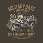 Us American Amry Jeep Poster