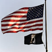 Us And Pow-mia Flags Poster